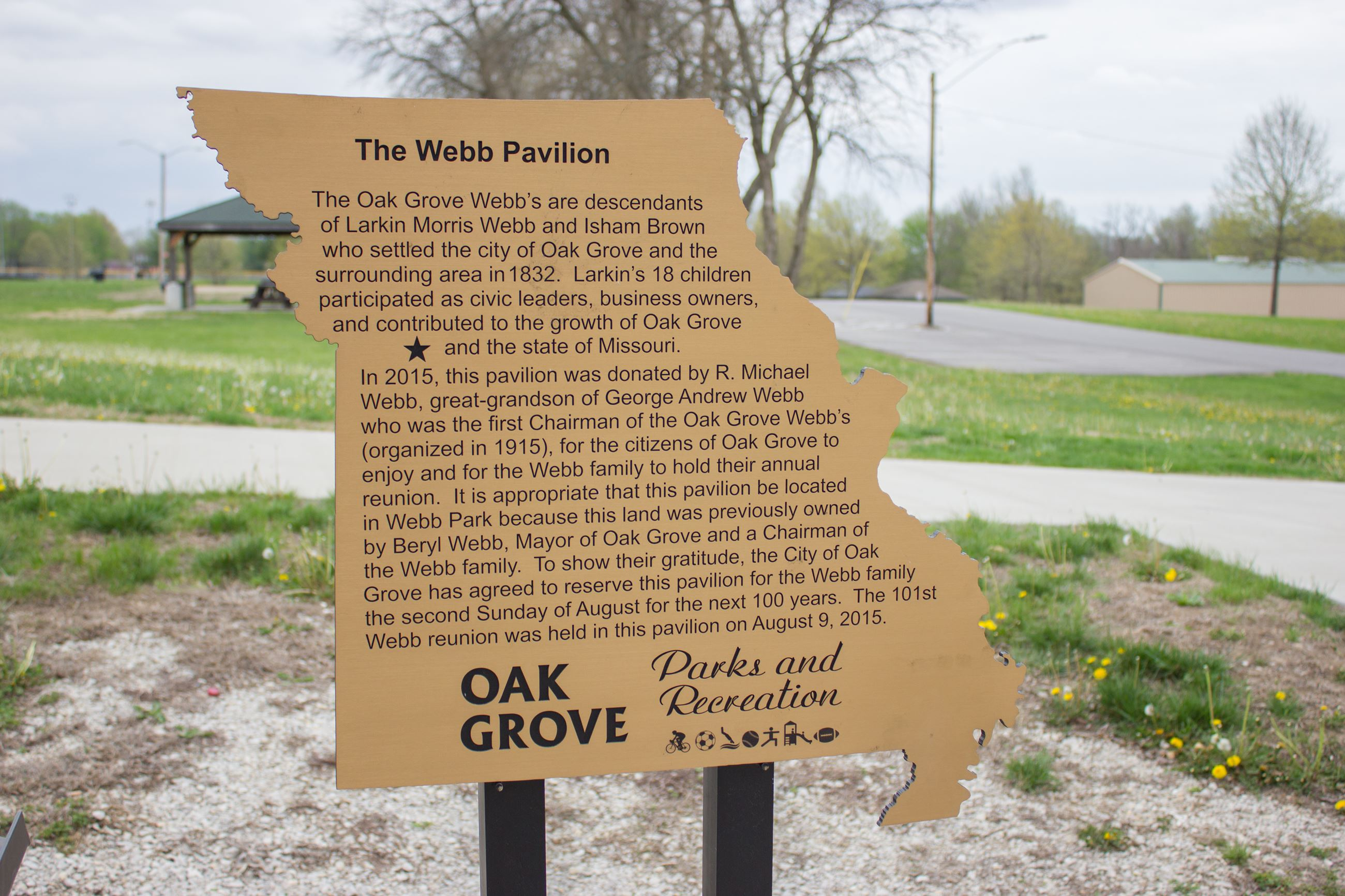 Webb Family Pavilion Sign