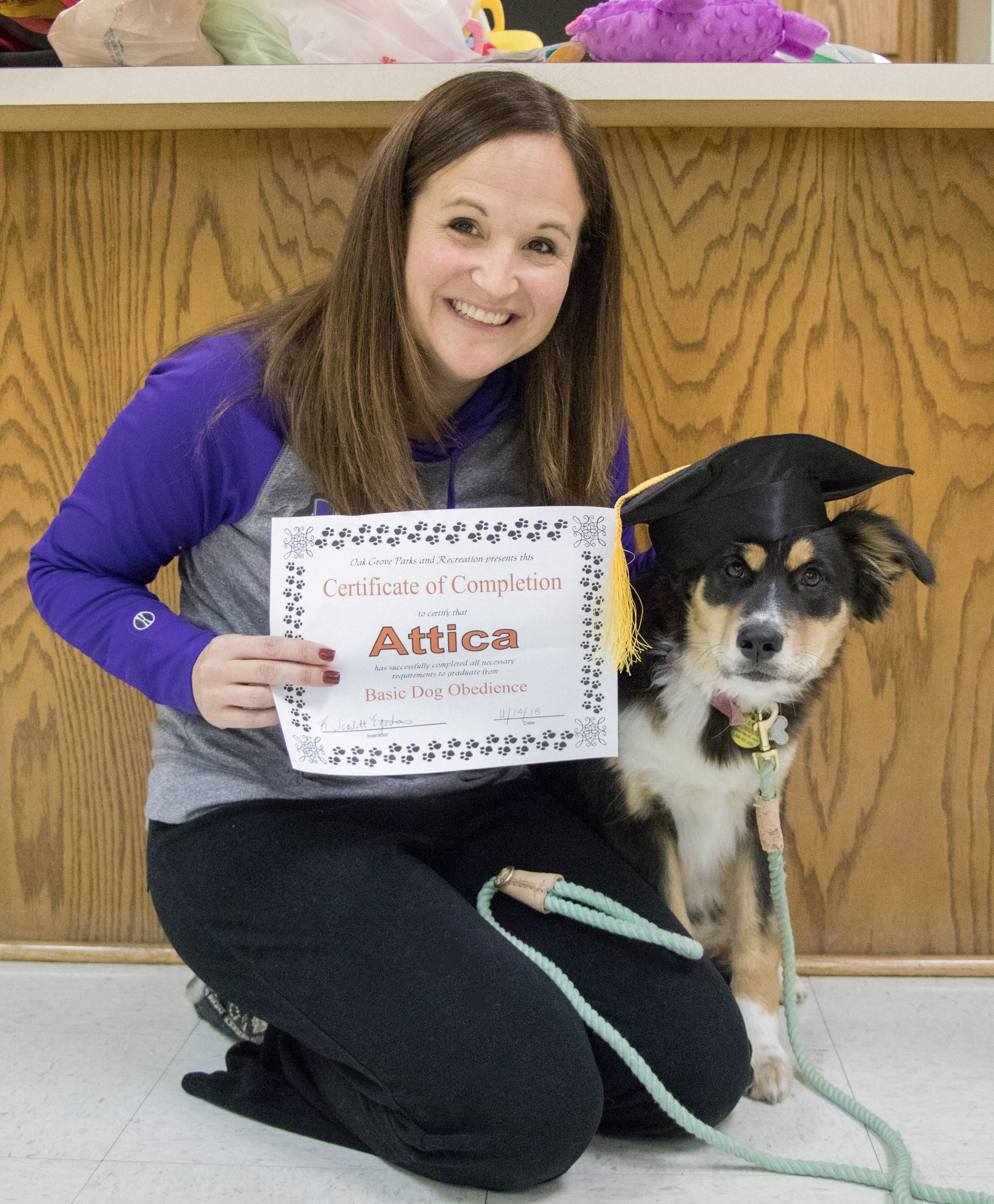Basic Dog Obedience graduate