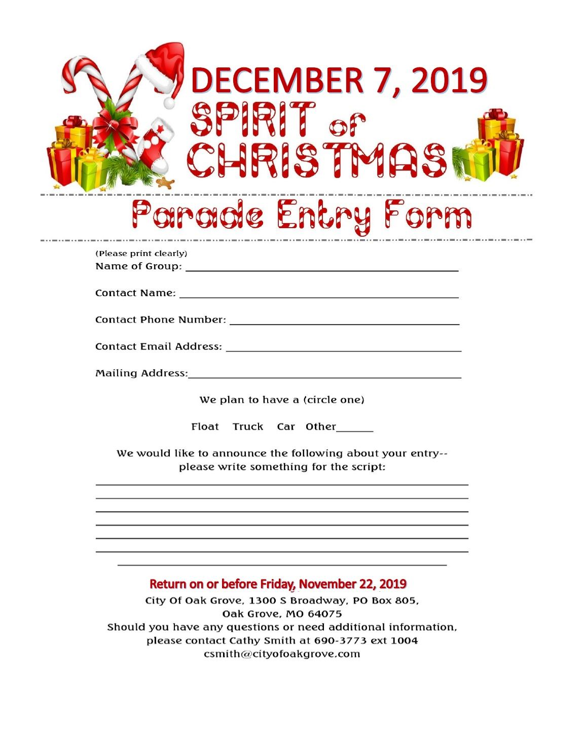 Parade Entry Form 2019